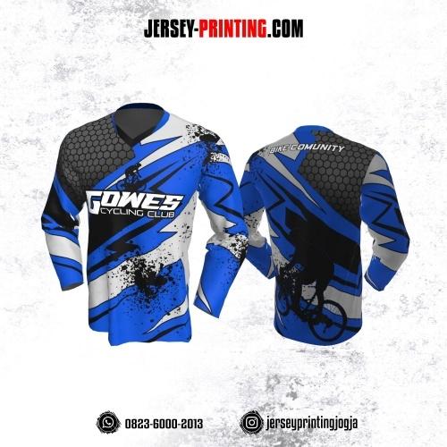 Jersey Gowes Sepeda Biru Hitam Putih Abu Honeycomb Lengan Panjang