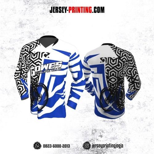 Jersey Gowes Sepeda Biru Hitam Putih Hexagon Lengan Panjang