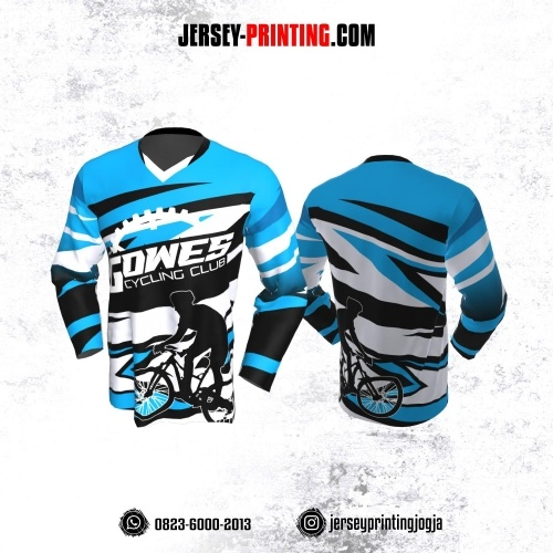 Jersey Gowes Sepeda Biru HItam Putih Kilat Lengan Panjang
