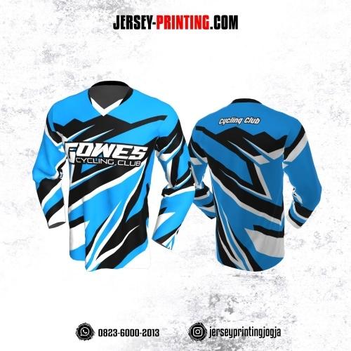 Jersey Gowes Sepeda Biru Hitam Putih Lengan Panjang