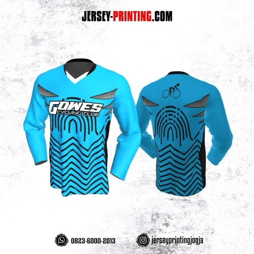 Jersey Gowes Sepeda Biru Hitam Zigzag Lengan Panjang