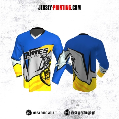 Jersey Gowes Sepeda Biru Kuning Abu Lengan Panjang