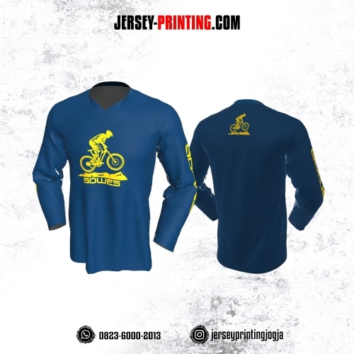 Jersey Gowes Sepeda Biru Kuning Diamond Lengan Panjang