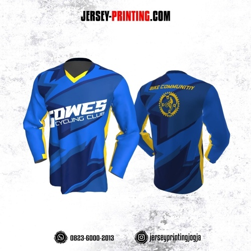 Jersey Gowes Sepeda Biru Kuning Geometric Lengan Panjang