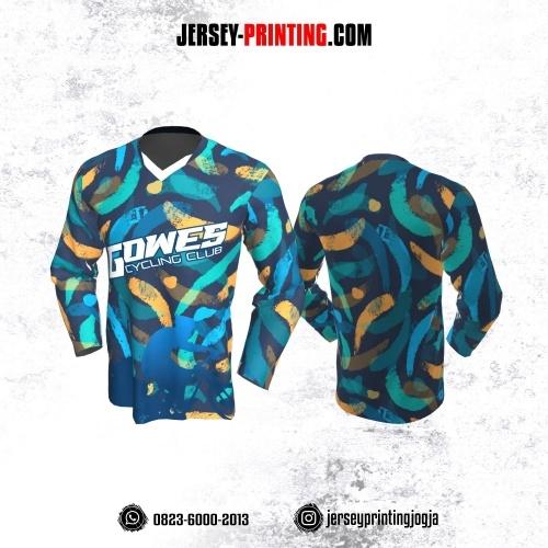 Jersey Gowes Sepeda Biru Kuning Hijau Brush Lengan Panjang