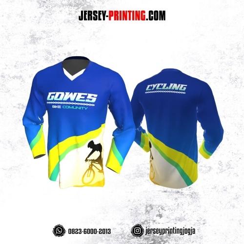 Jersey Gowes Sepeda Biru kuning Hijau Lengan Panjang