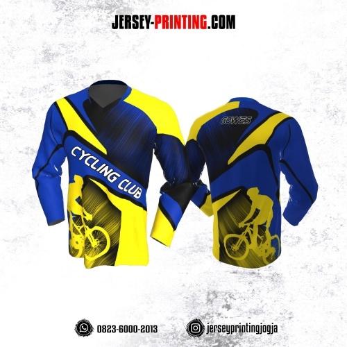 Jersey Gowes Sepeda Biru Kuning Hitam Garis Lengan Panjang