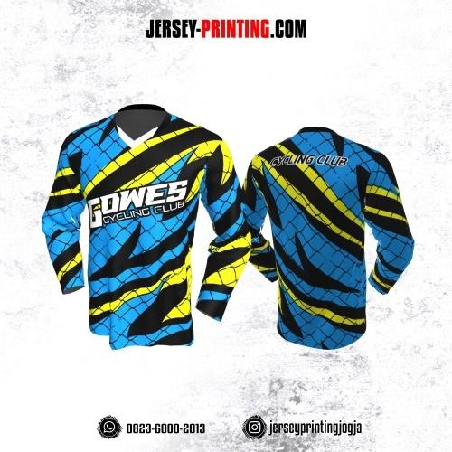 Jersey Gowes Sepeda Biru Kuning Hitam Jaring Kilat Lengan Panjang