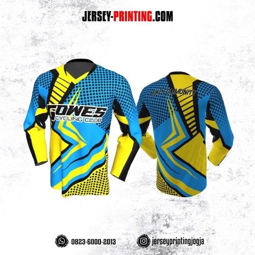 Jersey Gowes Sepeda Biru Kuning Hitam Lengan Panjang Lengan Panjang