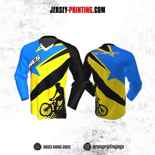 Jersey Gowes Sepeda Biru Kuning Lengan Panjang