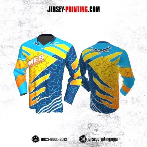 Jersey Gowes Sepeda Biru Kuning Orange Lengan Panjang