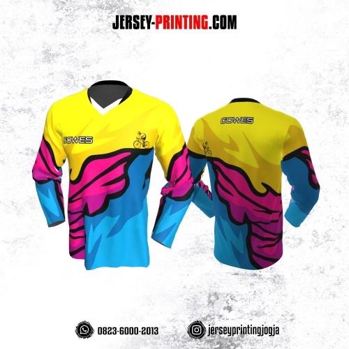 Jersey Gowes Sepeda Biru Kuning Pink Hitam Lengan Panjang