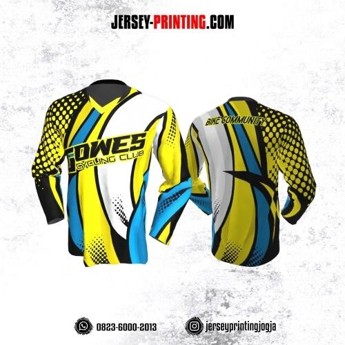 Jersey Gowes Sepeda Biru Kuning Polkadot Lengan Panjang