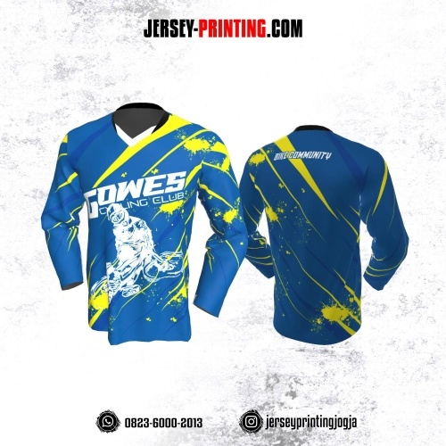 Jersey Gowes Sepeda Biru Kuning Putih  Lengan Panjang
