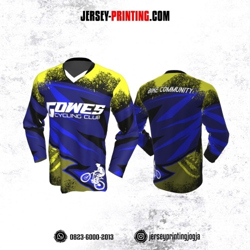 Jersey Gowes Sepeda Biru Kuning Zigzag Lengan Panjang