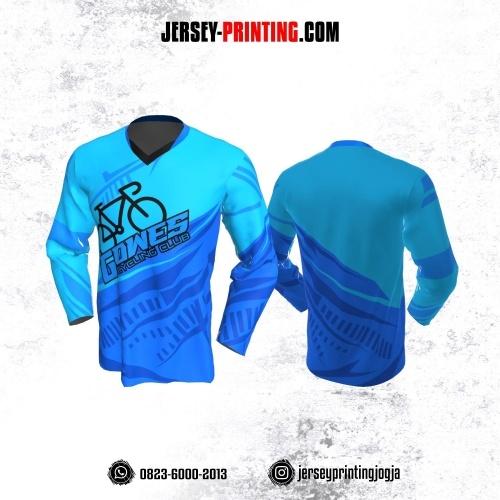 Jersey Gowes Sepeda Biru Lengan Panjang