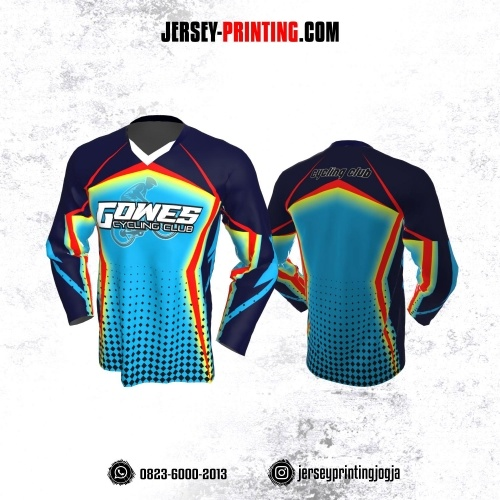 Jersey Gowes Sepeda Biru Merah Dongker Lengan Panjang