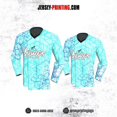 Jersey Gowes Sepeda Biru Navy Line 3D Lengan Panjang