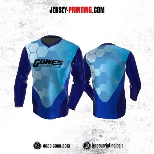 Jersey Gowes Sepeda Biru Navy Motif Hexagon Lengan Panjang