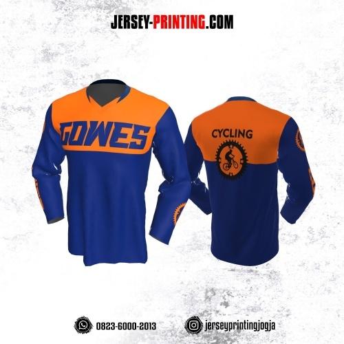 Jersey Gowes Sepeda Biru Orange Lengan Panjang