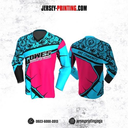 Jersey Gowes Sepeda Biru Pink Hitam Batik Lengan Panjang