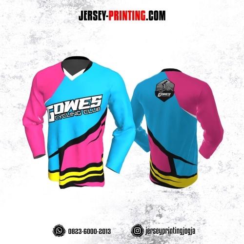 Jersey Gowes Sepeda  Biru Pink Kuning Hitam  Lengan Panjang