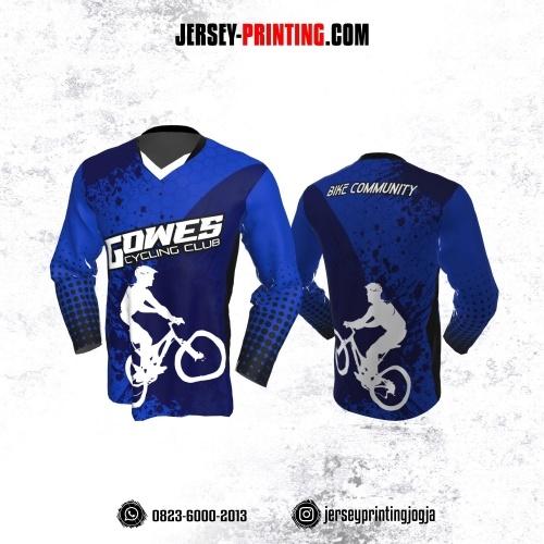 Jersey Gowes Sepeda Biru Polkadot Bercak Lengan Panjang