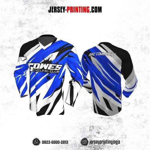 Jersey Gowes Sepeda Biru Putih Hitam Abstrak Lengan Panjang