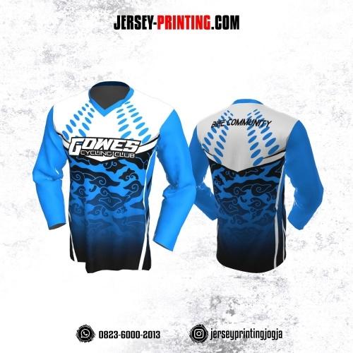 Jersey Gowes Sepeda Biru Putih Hitam Mega Mendung Lengan Panjang