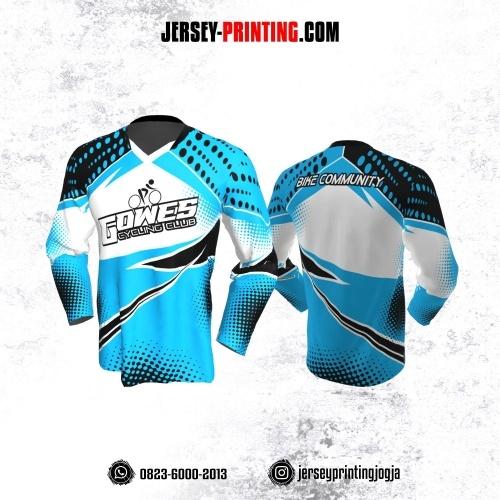 Jersey Gowes Sepeda Biru Putih Hitam Polkadot  Lengan Panjang