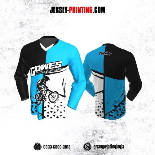 Jersey Gowes Sepeda Biru Putih Hitam Segitiga  Lengan Panjang