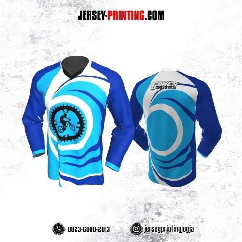 Jersey Gowes Sepeda Biru Putih Lengan Panjang