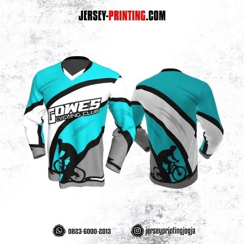 Jersey Gowes Sepeda Biru Tosca Abu Hitam Putih Lengan Panjang