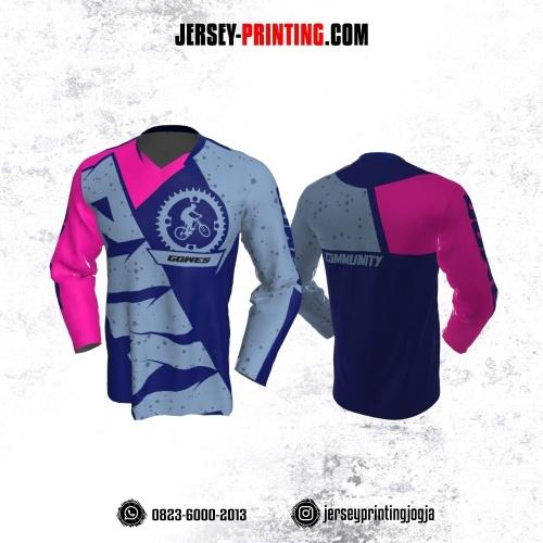 Jersey Gowes Sepeda Biru Tua Abu Magenta Lengan Panjang