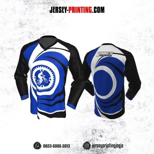 Jersey Gowes Sepeda Biru Tua Hitam Putih Lengan Panjang