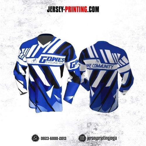 Jersey Gowes Sepeda Biru Tua Hitam Strip Lengan Panjang