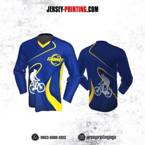 Jersey Gowes Sepeda Biru Tua Kuning Lengan Panjang