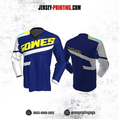 Jersey Gowes Sepeda Biru Tua Putih Kuning Lengan Panjang