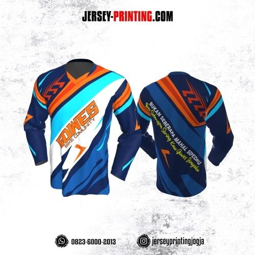 Jersey Gowes Sepeda Dongker Biru Orange Lengan Panjang