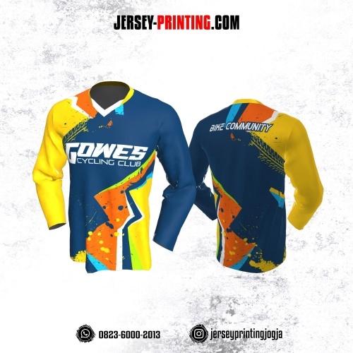 Jersey Gowes Sepeda Dongker Kuning Orange Lengan Panjang