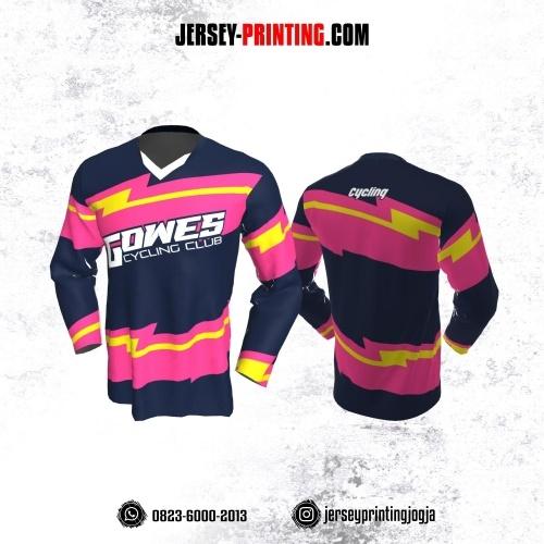 Jersey Gowes Sepeda Dongker Pink Kuning Putih  Lengan Panjang