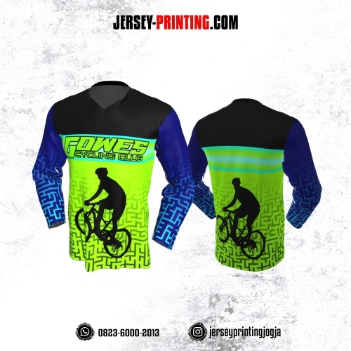 Jersey Gowes Sepeda Hijau Biru Tua Hitam Lengan Panjang
