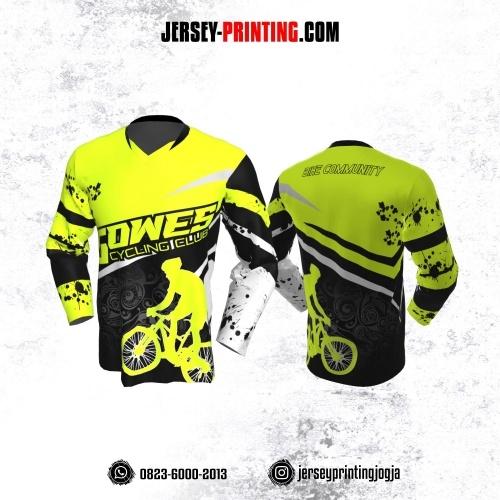 Jersey Gowes Sepeda Hijau Hitam Abu Batik Lengan Panjang