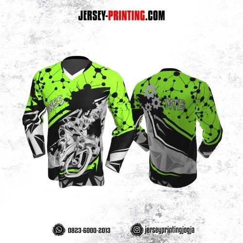 Jersey Gowes Sepeda Hijau Hitam Abu Dot Line Lengan Panjang