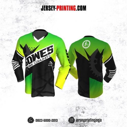 Jersey Gowes Sepeda Hijau Hitam Abu Lengan Panjang