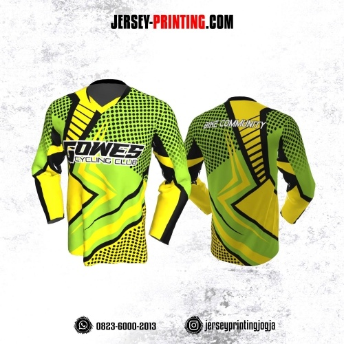 Jersey Gowes Sepeda Hijau Hitam Kuning Polkadot Lengan Panjang