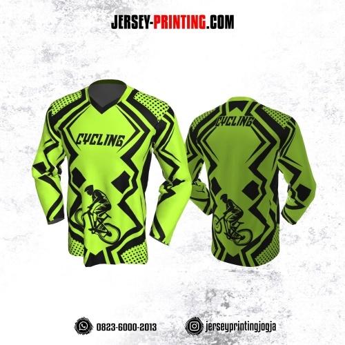 Jersey Gowes Sepeda Hijau Hitam Line Lengan Panjang