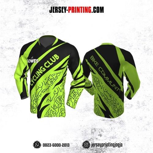 Jersey Gowes Sepeda Hijau Hitam Mega Mendung Lengan Panjang