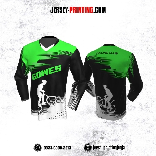 Jersey Gowes Sepeda Hijau Hitam Putih Lengan Panjang