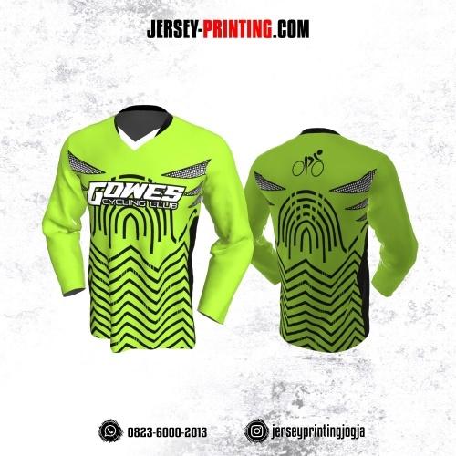 Jersey Gowes Sepeda Hijau Hitam Putih Zigzag Lengan Panjang